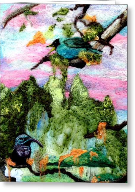 Wildlife Tapestries Textiles Greeting Cards - Detail of Spring Greeting Card by Kimberly Simon