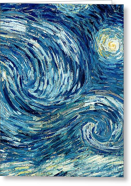 Moonlit Greeting Cards - Detail of The Starry Night Greeting Card by Vincent Van Gogh