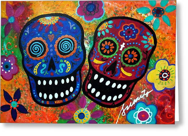 Turkus Greeting Cards - Dia De Los Muertos Couple Greeting Card by Pristine Cartera Turkus