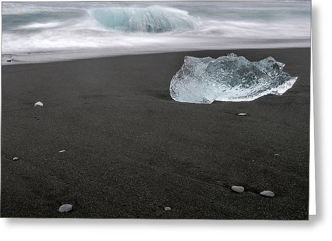 Diamonds Floating In Beaches, Iceland Greeting Card