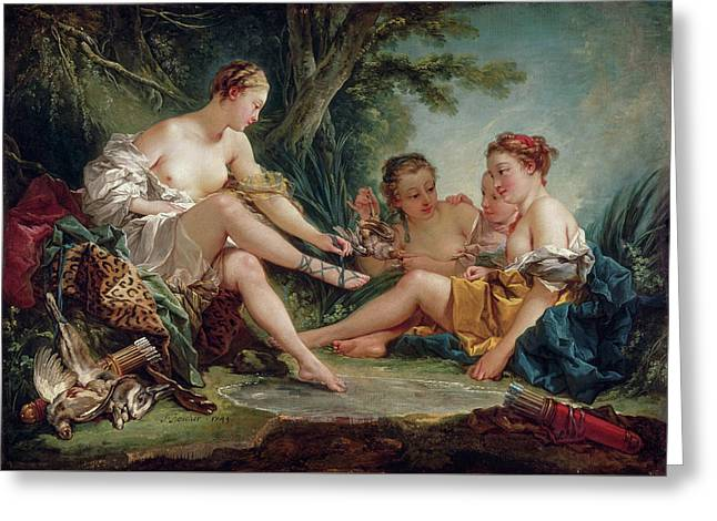 Diana After The Hunt Greeting Card by Francois Boucher