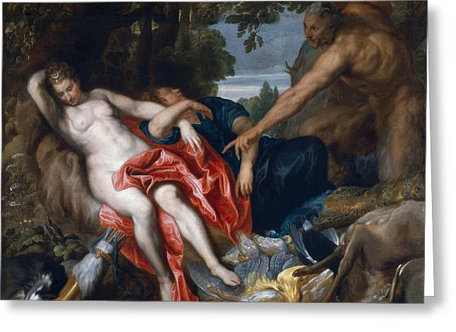 Diana And Endymion Surprised By A Satyr Greeting Card