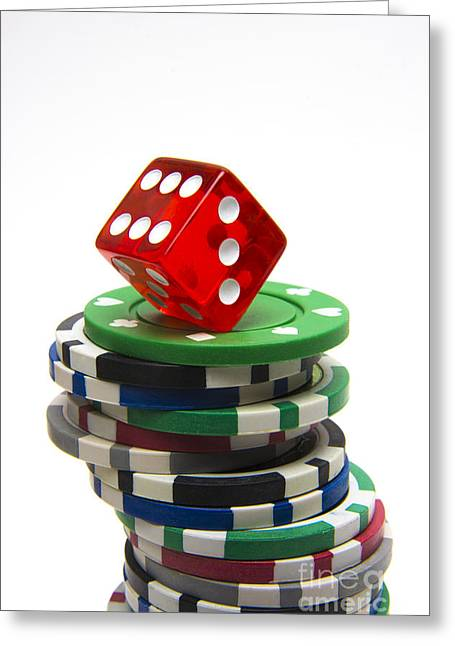Dice And Gambling Greeting Card by Bernard Jaubert