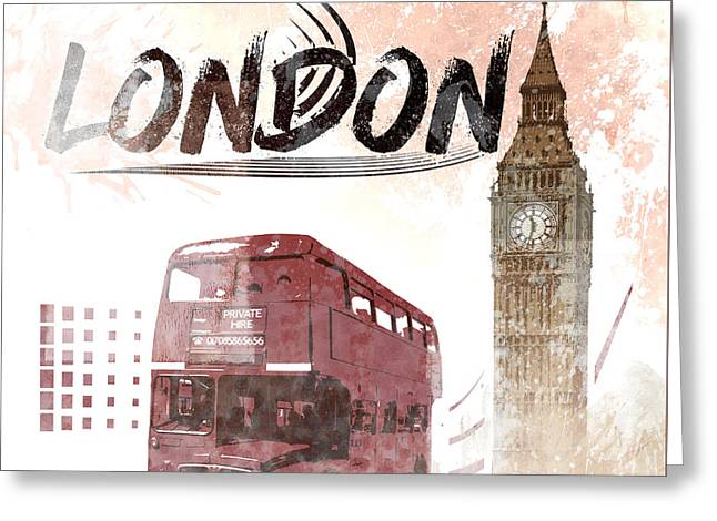 Digital-art London Composing Big Ben And Red Bus Greeting Card by Melanie Viola