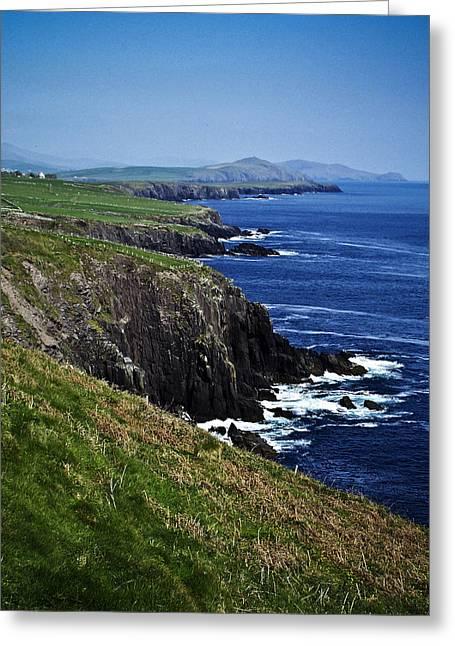 Blue Green Wave Greeting Cards - Dingle Coastline near Fahan Ireland Greeting Card by Teresa Mucha