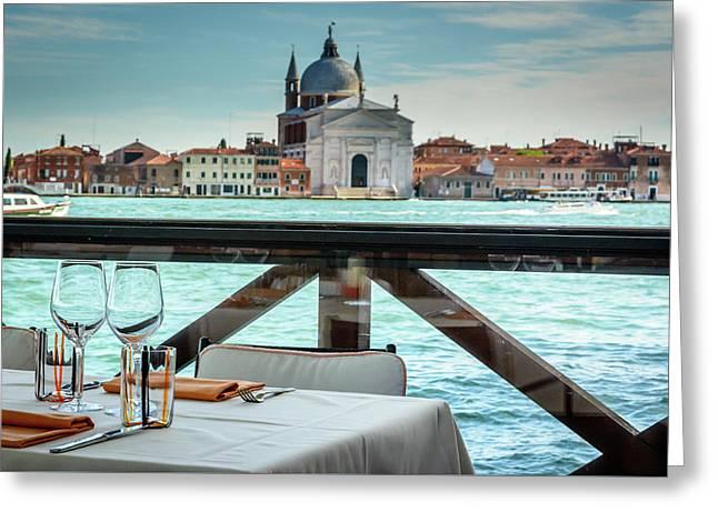 Dining Tables  In Venice Greeting Card by Libor Vrska