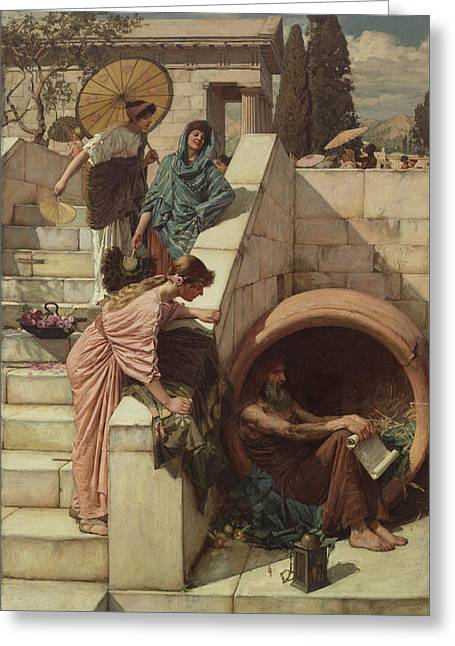 Diogenes Greeting Card by John William Waterhouse