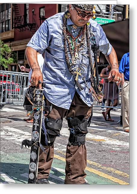Disability Pride Parade Nyc 2016 Native American Dancing Greeting Card by Robert Ullmann