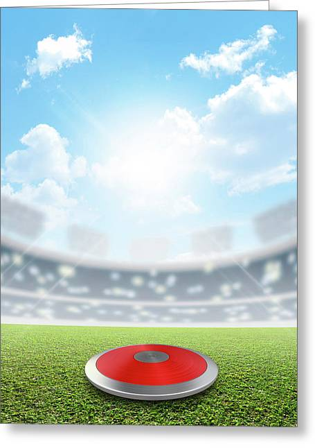 Discus Stadium And Green Turf Greeting Card by Allan Swart