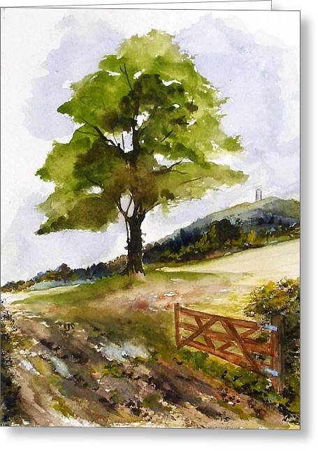 Tor Paintings Greeting Cards - Distant Tor Greeting Card by Sibby S