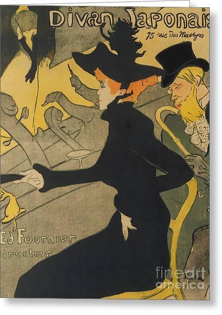 Divan Japonais Greeting Card by Henri de Toulouse-Lautrec