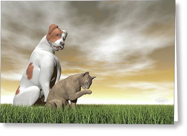 Dog And Cat Friendship - 3d Render Greeting Card