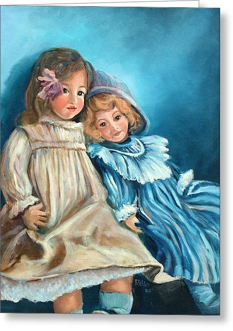 Dolls At Rest Greeting Card by Sally Seago
