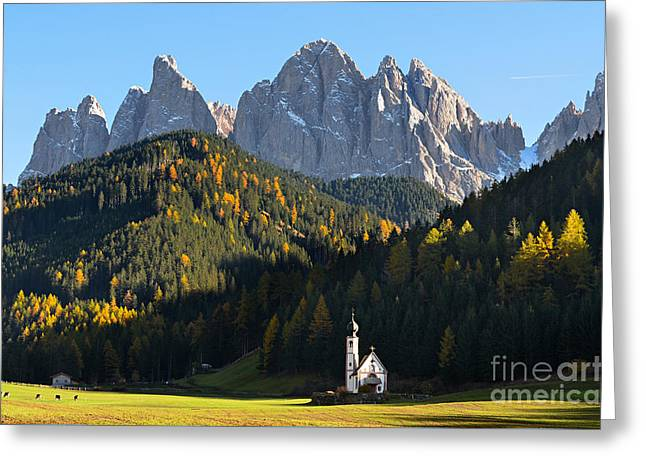 Dolomites Mountain Church Greeting Card by IPics Photography