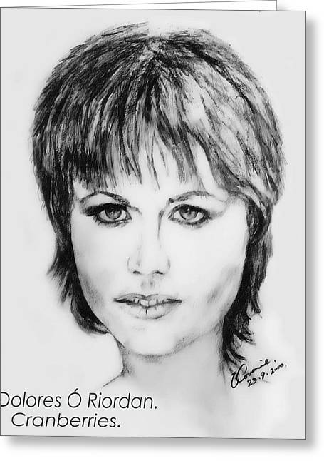 Spitfire Drawings Greeting Cards - Dolores O Riordan Greeting Card by Liam O Conaire