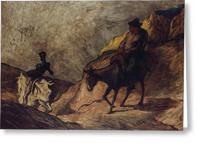Don Quixote And Sancho Panza Greeting Card by Honore Daumier