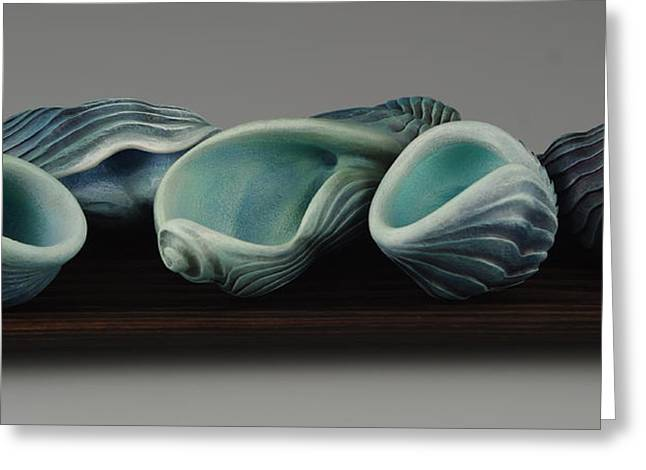 Blue Green Wave Sculptures Greeting Cards - Dont Make Waves Greeting Card by Jacques Vesery