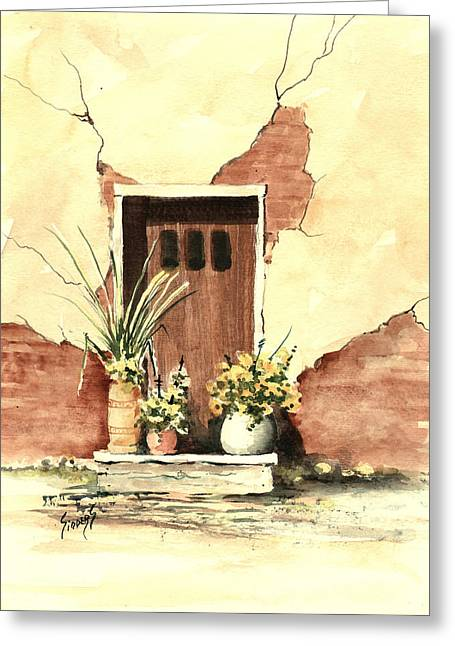 Greeting Card featuring the painting Door With Pots by Sam Sidders