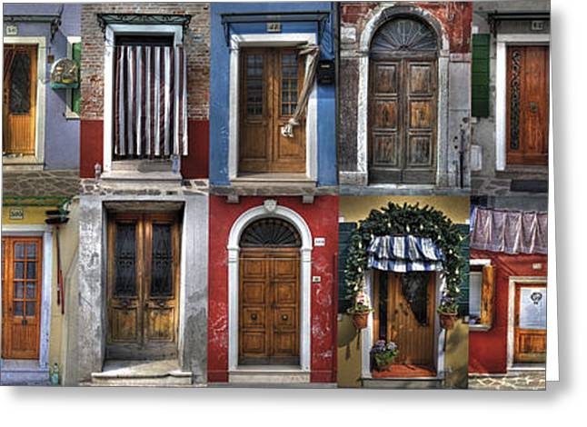 doors and windows of Burano - Venice Greeting Card