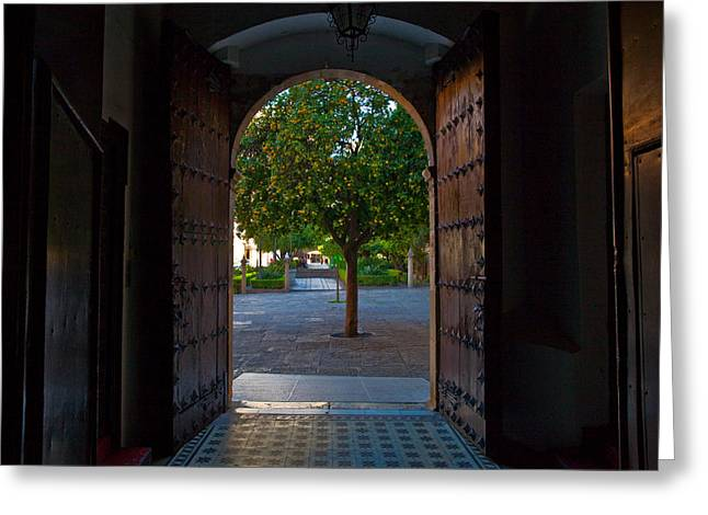 Entrance Door Greeting Cards - Doorway And Arch Between Gardens Greeting Card by Panoramic Images