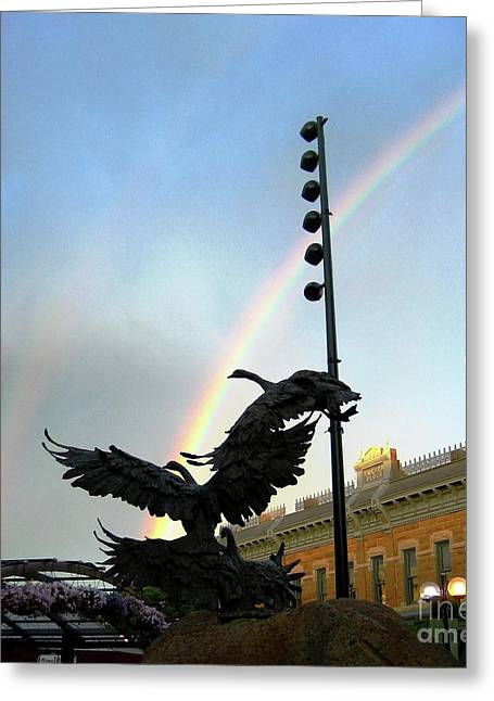 Double Rainbow Over Old Town Square Greeting Card