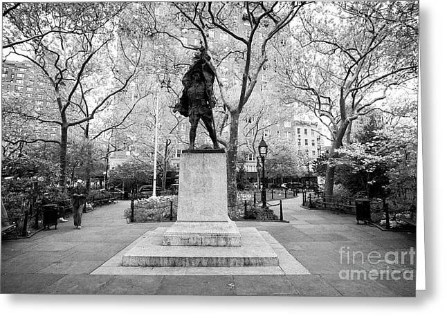 doughboy statue in abingdon square park greenwich village New York City USA Greeting Card