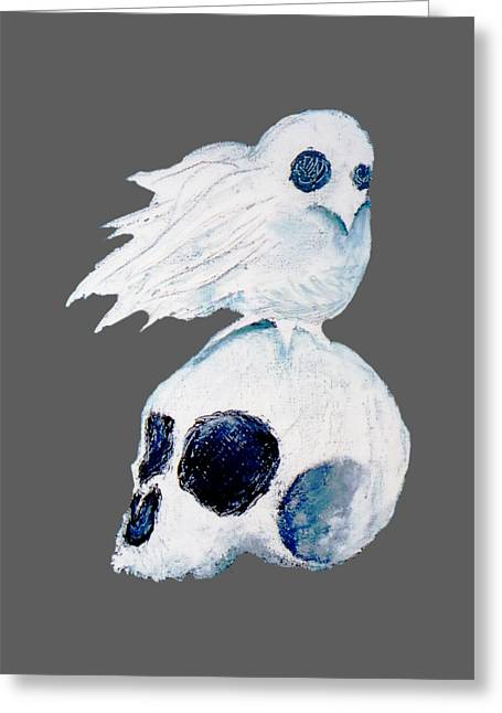 Dove And Skull Greeting Card by Daniel P Cronin
