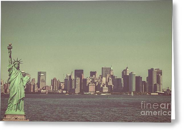 Downtown Manhattan Greeting Card by Patricia Hofmeester
