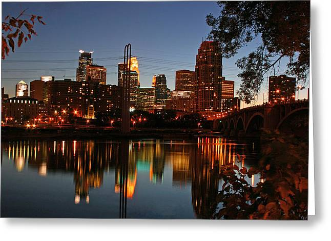 Downtown Minneapolis At Night Greeting Card