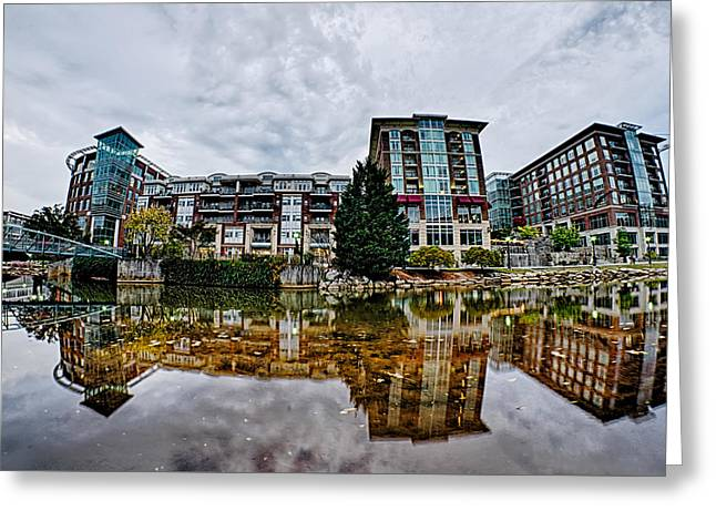 Downtown Of Greenville South Carolina Around Falls Park Greeting Card by Alex Grichenko