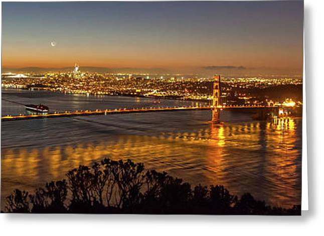 Downtown San Francisco And Golden Gate Bridge Just Before Sunris Greeting Card