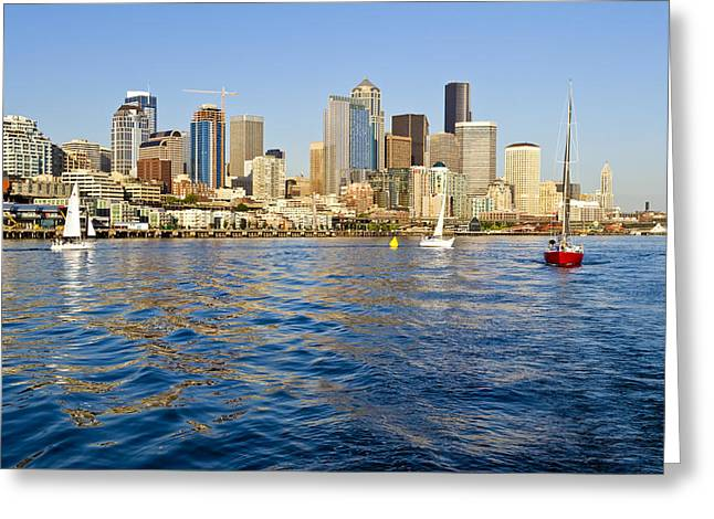 Downtown Seattle Sailing Greeting Card by Tom Dowd