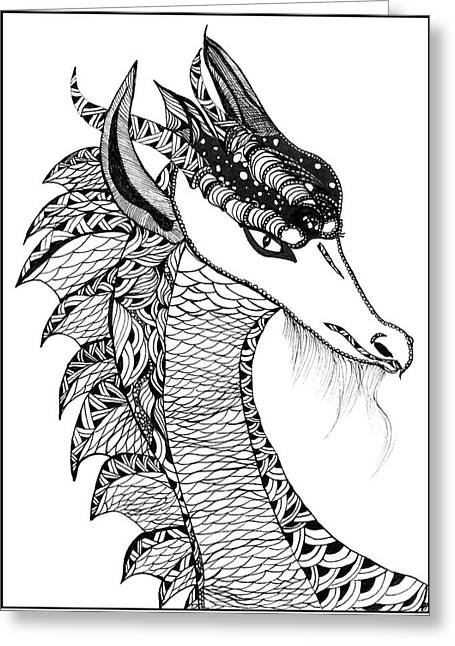 Greeting Card featuring the drawing Dragon by Barbara McConoughey
