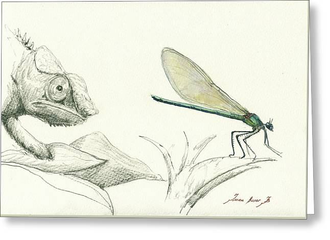Dragonfly With Chameleon Greeting Card by Juan Bosco