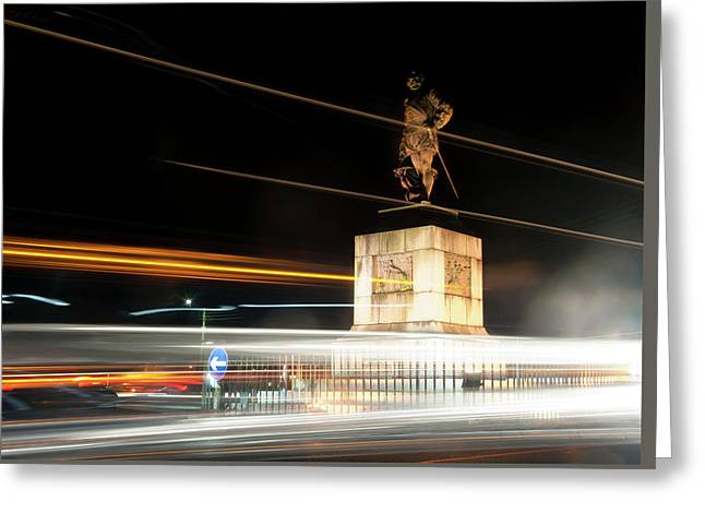 Drake's Statue Traffic Trails Iv Greeting Card