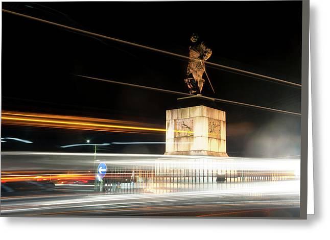 Drake's Statue Traffic Trails Iv Greeting Card