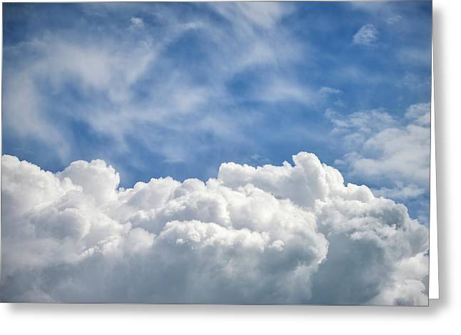 Dramatic Cumulus Clouds With High Level Cirrocumulus Clouds For  Greeting Card