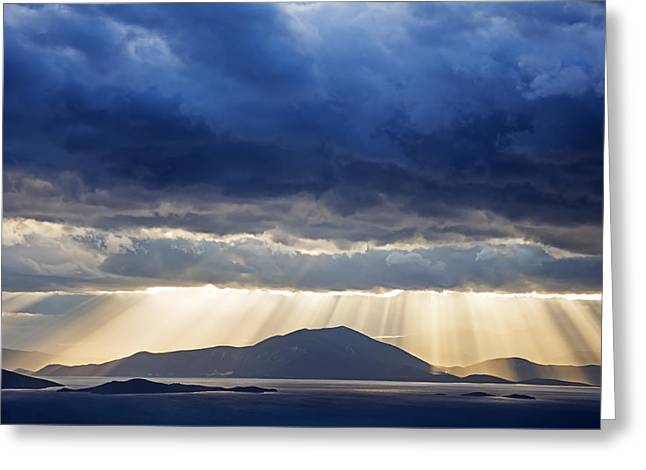 Dramatic Sky Above Mediterranean Seascape Greeting Card by Claudia Holzfoerster