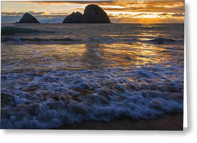 Dramatic Sunset Oregon Coast Usa Greeting Card
