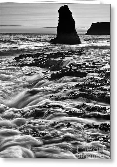 Dramatic View Of A Sea Stack In Davenport Beach, Santa Cruz. Greeting Card by Jamie Pham