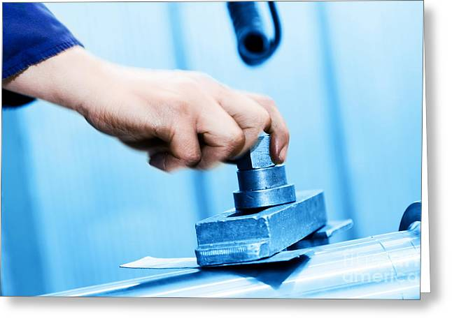 Drilling And Boring Machine At Work Greeting Card by Michal Bednarek