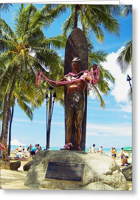 Duke Kahanamoku Statue Greeting Card by Mary Van de Ven - Printscapes