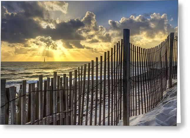 Dune Fence Greeting Card by Debra and Dave Vanderlaan