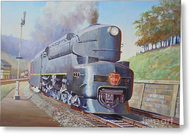 Greeting Card featuring the painting Duplex Express by Mike Jeffries