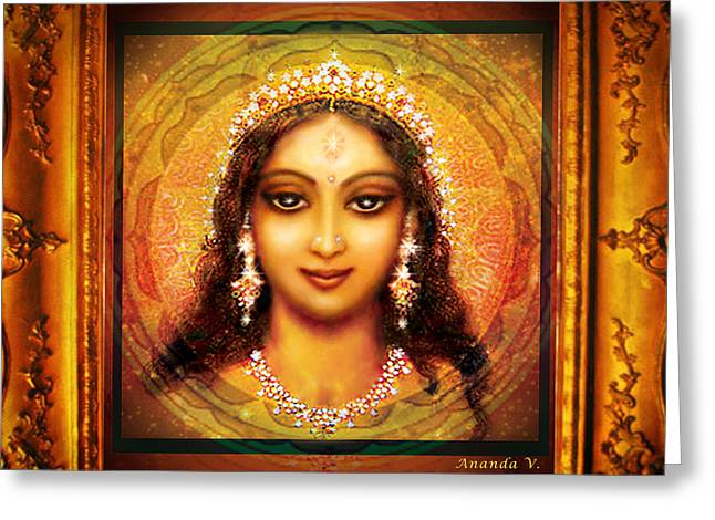 Durga In The Sri Yantra  Greeting Card by Ananda Vdovic