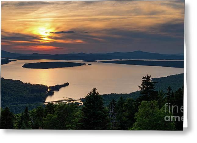 Dusk, Mooselookmeguntic Lake, Rangeley, Maine  -63362-63364 Greeting Card