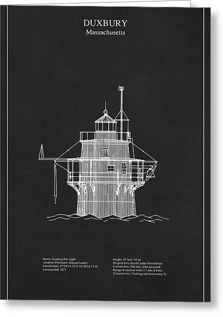 Duxbury Lighthouse - Massachusetts - Blueprint Drawing Greeting Card