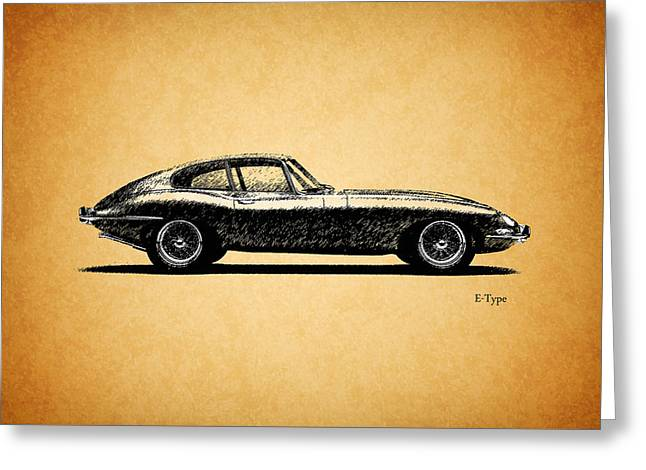 E-type Jaguar Greeting Card by Mark Rogan