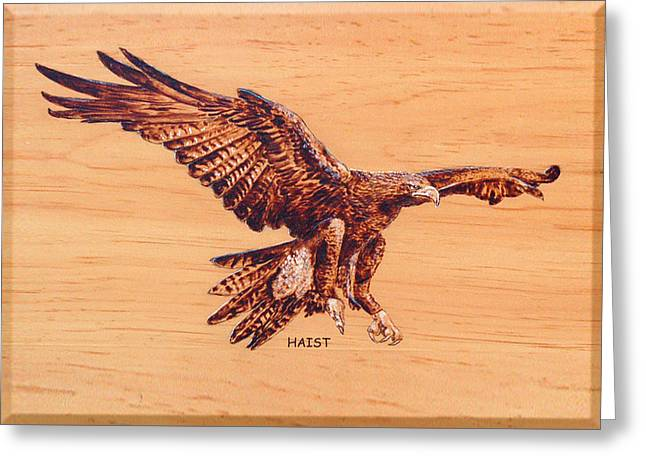 Greeting Card featuring the pyrography Eagle by Ron Haist