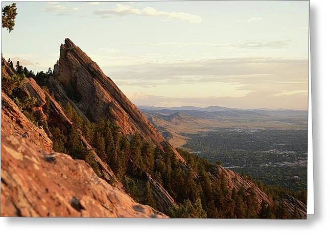 Early Morning Flatirons Greeting Card by Rachel Mahoney